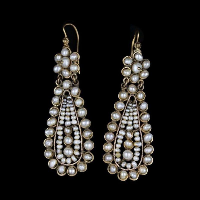 Boucles d'oreilles italiennes or et perles fines