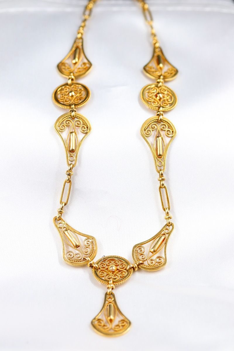 Collier collerette or avec pendeloques