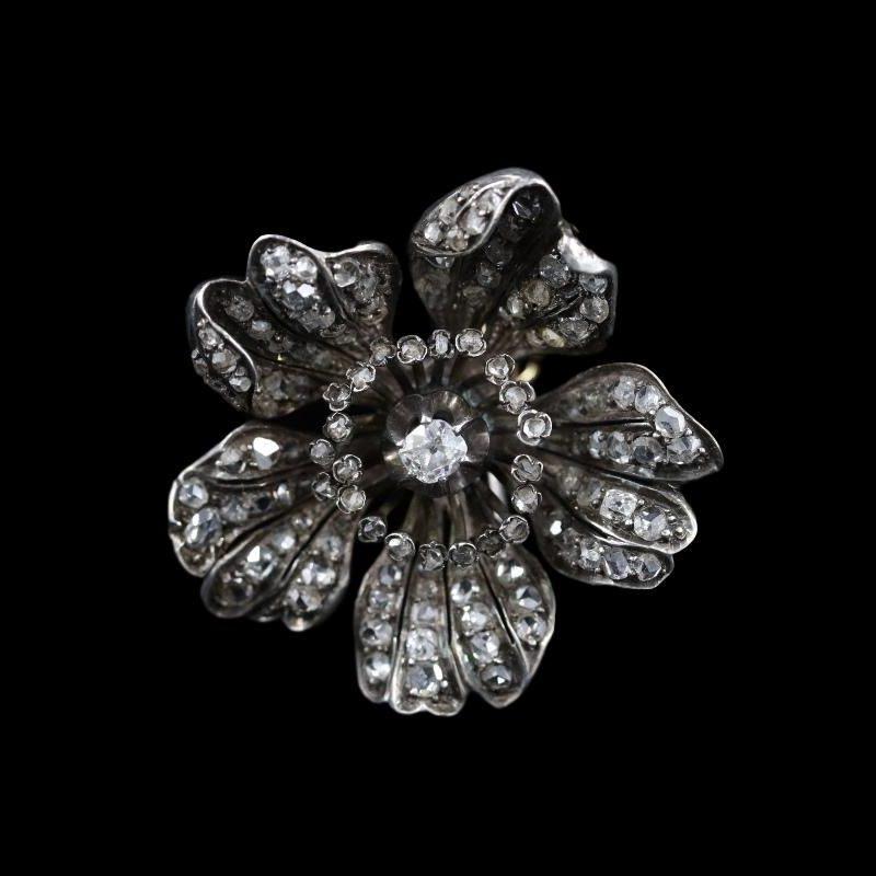 Broche fleur diamants Napoléon III