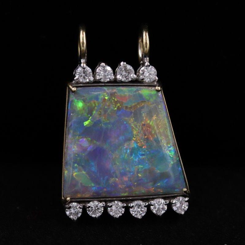 Pendentif opale et chaîne câble or signé Chiarello