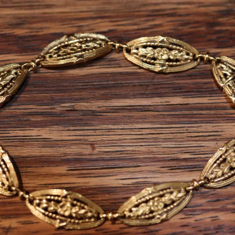 Bracelet or XIXe maillon olive