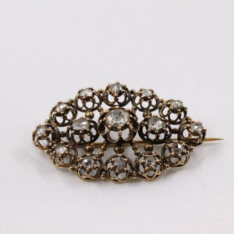 Broche XVIIIe or et diamants
