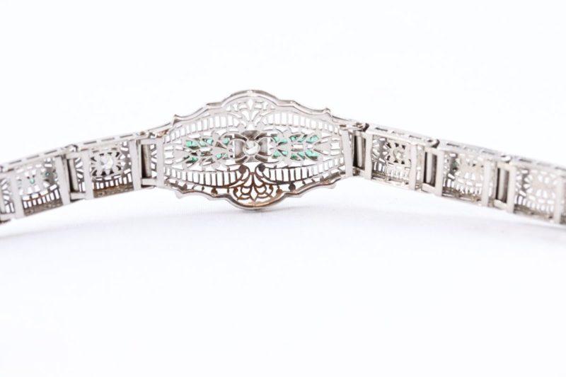 Dos bracelet 1925 diamants émeraudes