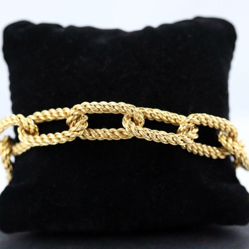 Bracelet or brossé maillons corde