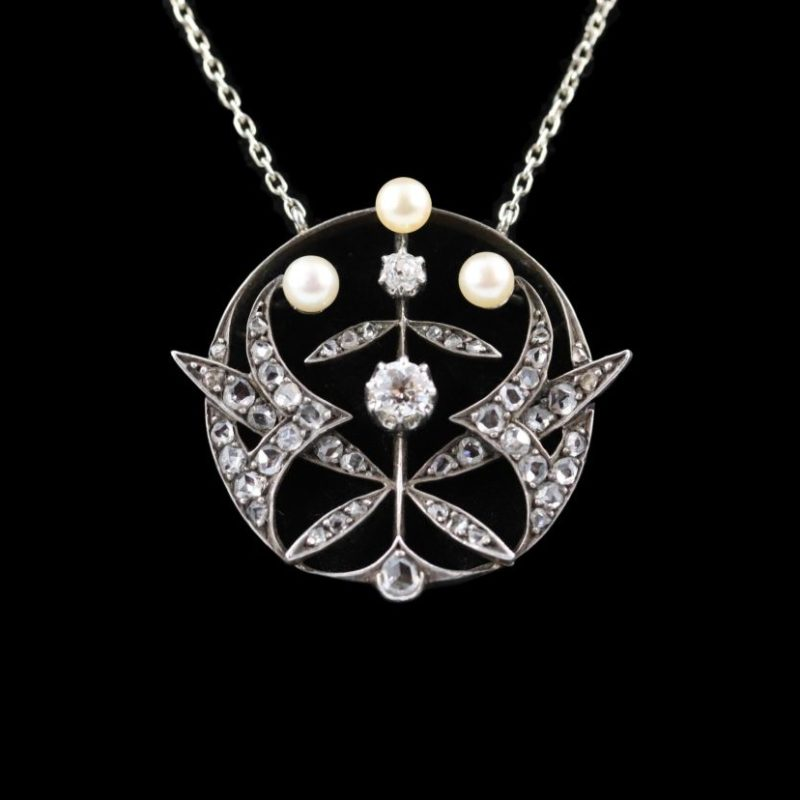 Pendentif diamants et perles fines fin XIXe