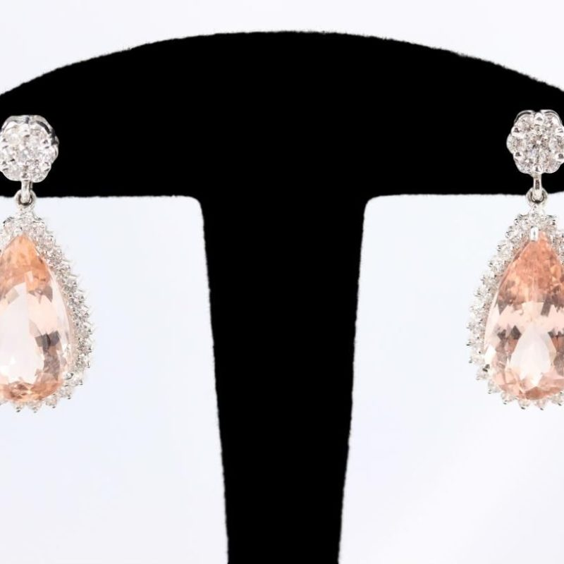 Boucles d'oreilles morganites diamants