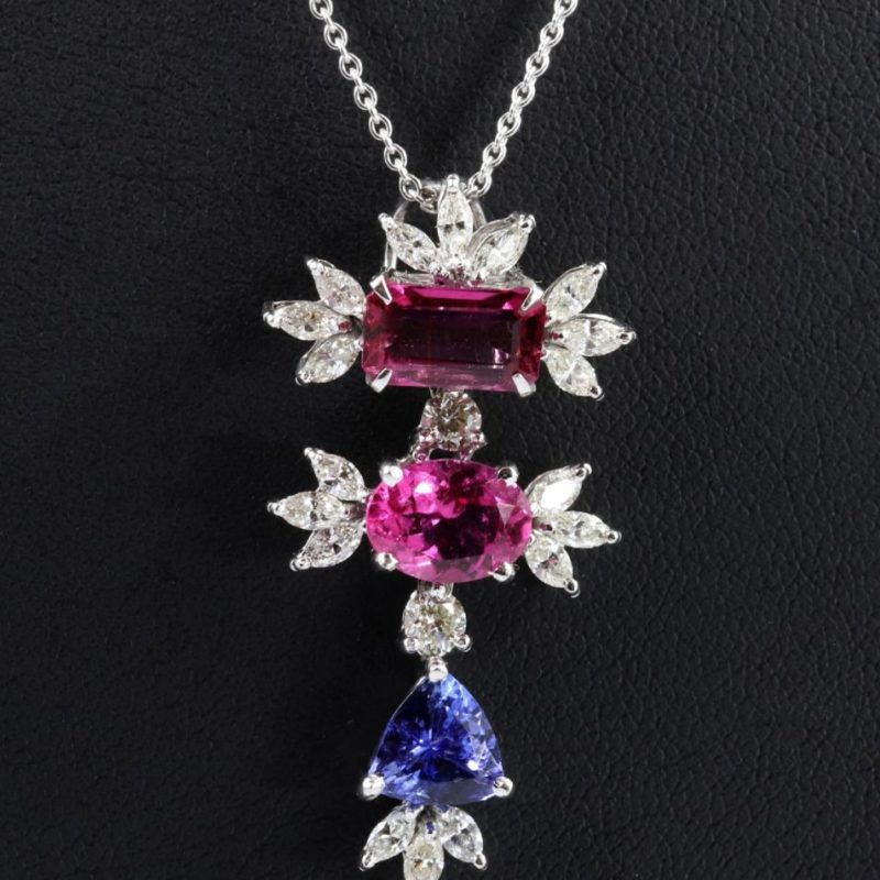 Pendentif tourmalines, tanzanite et diamants