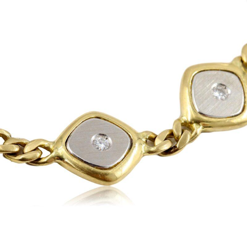 Bracelet années 80 or jaune et or blanc brossé