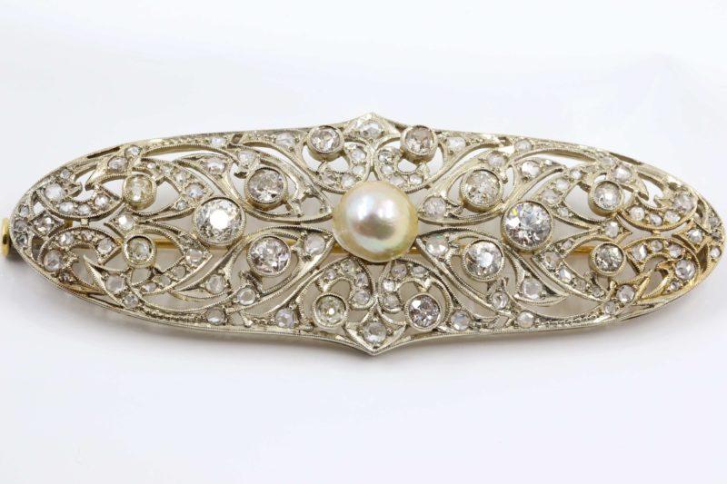 Magnifique broche diamant et perle années 20
