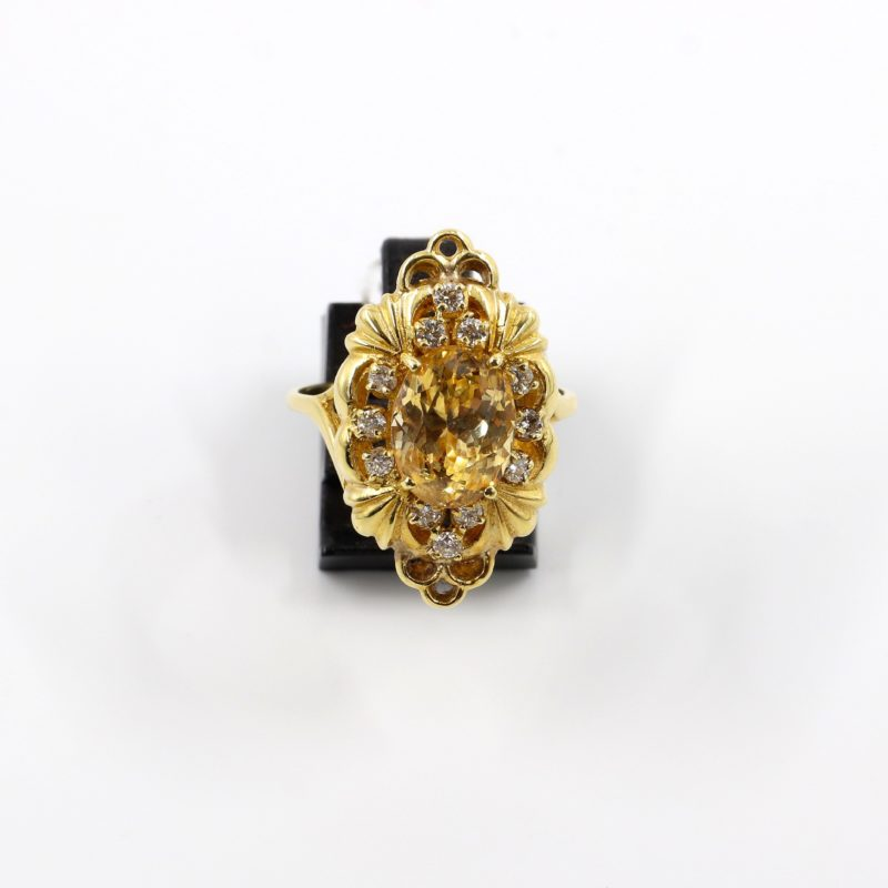Bague or diamants et saphir jaune 5 carats