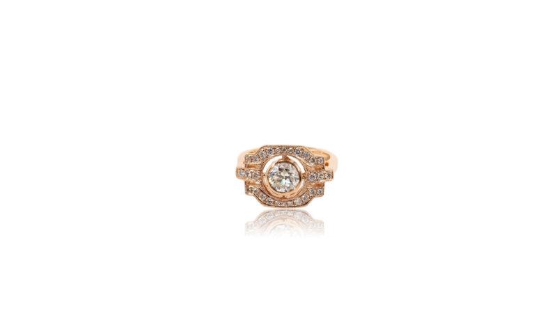 Bague style Art déco or rose et diamants