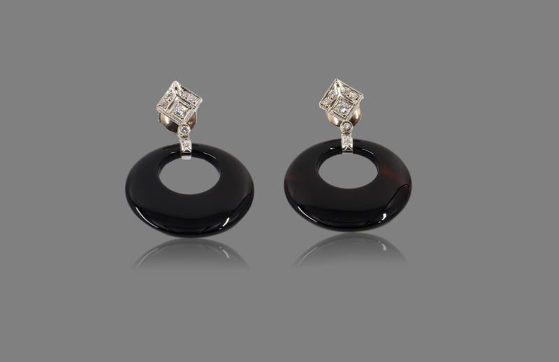 Boucles d'oreilles détachables or blancs, diamants, agates