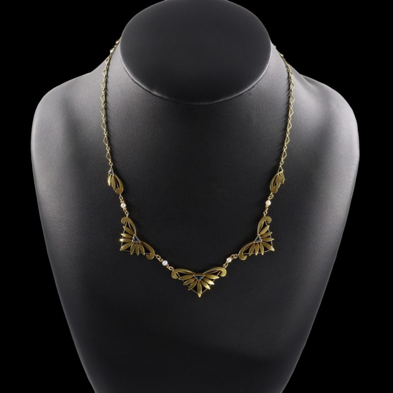 Collier collerette 1900 or saphir perles fines