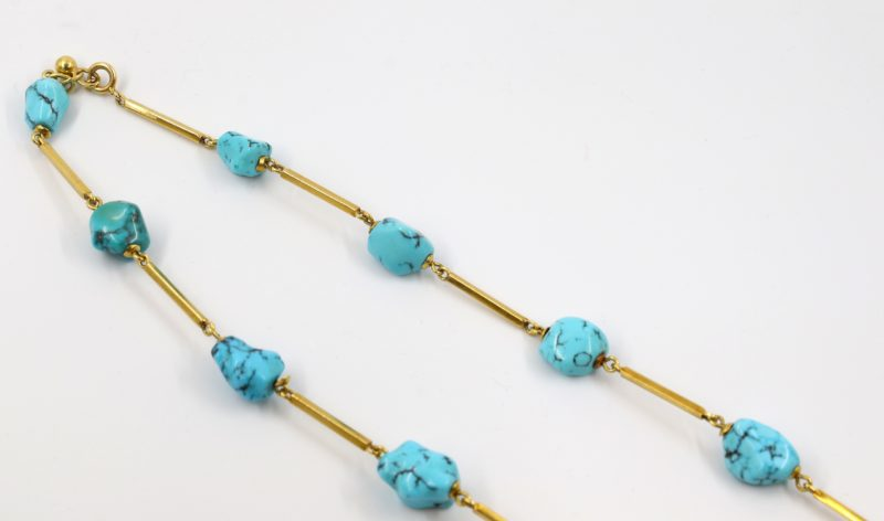 Fermoir collier or et turquoise