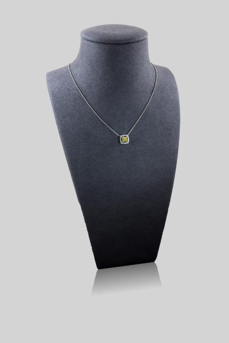 Collier diamant jaune et diamants