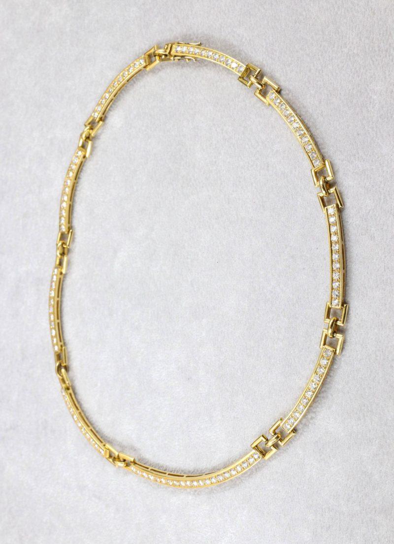 Collier rigide articulé or et diamants