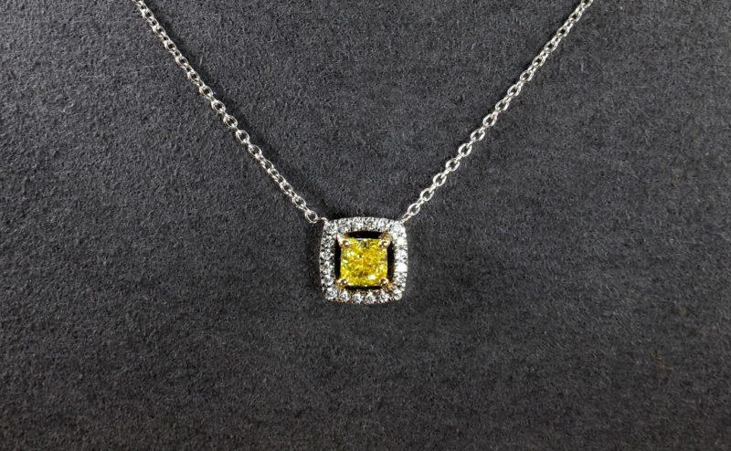 Pendentif diamant jaune