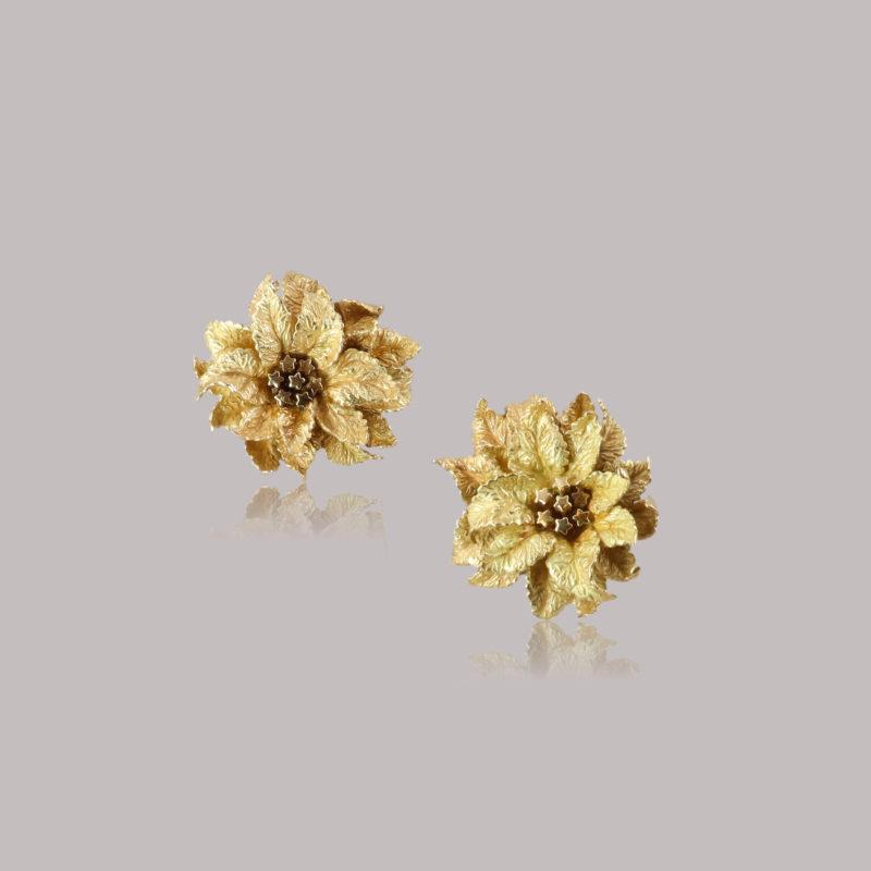 Boucles d'oreilles clips Hermès feuilles or